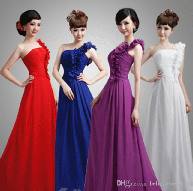 Purple Red Blue African Long Bridesmaid Dresses Flowers One Shoulder ...