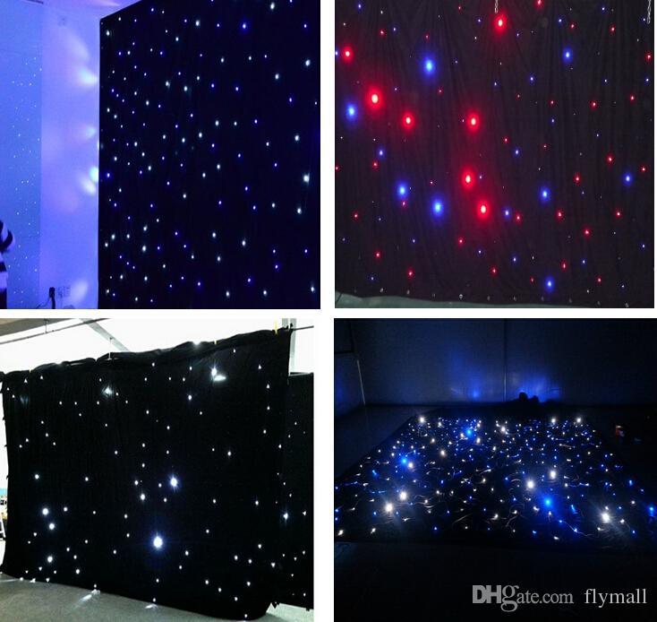 Yıldız Bezi Perde Işık Düğün Dekorasyon DMX512 Sahne Aydınlatma LED 3mx6m LED Düğün Perde LED Yıldız Kumaş Siyah Sahne Backdrop