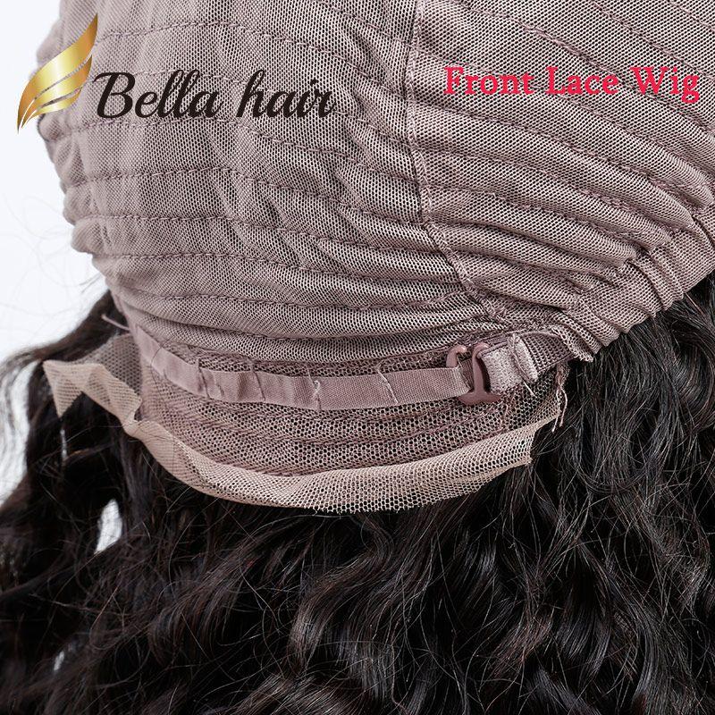 100% Индийские Девы Человеческие Парики Волос Свободная Кудрявая Волна 13 * 4 Кружева Фронтальный Парик 130% 150% Плотность Натуральный Цвет Белла Волос Бесплатная Доставка
