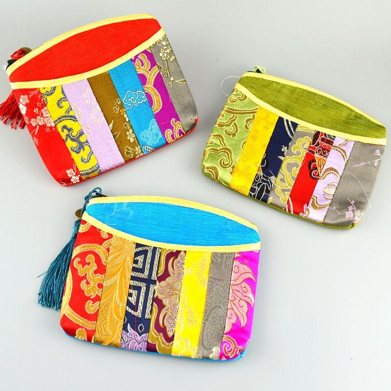 Patchwork Zipper Coin Purse Silk brocade Jewelry Cosmetic Travel Bag Women Small Makeup Bag Tassel Bracelet Gift Bag Pouch /llot