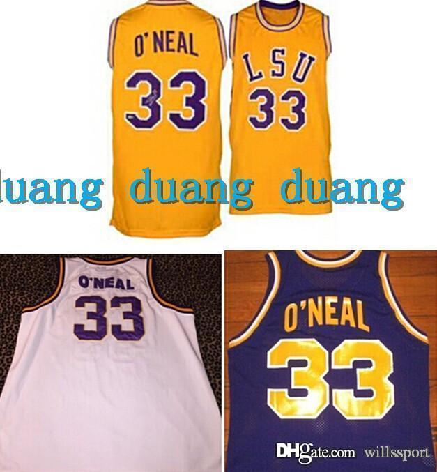4a33a37d0e7 ... 2017 Shaq Lsu Jersey 33 Shaquille ONeal Jersey Throwback Retro College  Basketball Jerseys White Yellow Purple ...