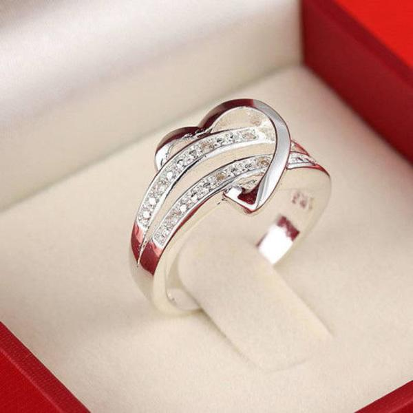 love heart women girl wedding ring silver plated material design size 6 9 argent jewelry wholesale free shipping