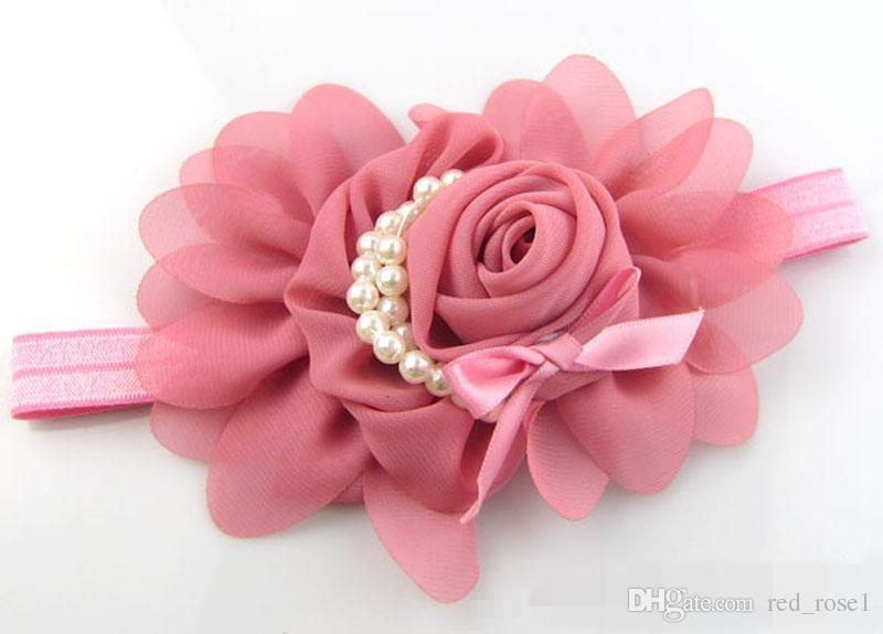 Leuke Kids Baby Meisjes Party Haaraccessoires Parel Rose Flower Headwear Stretchy Hair Band Hoofdband 13 Kleuren