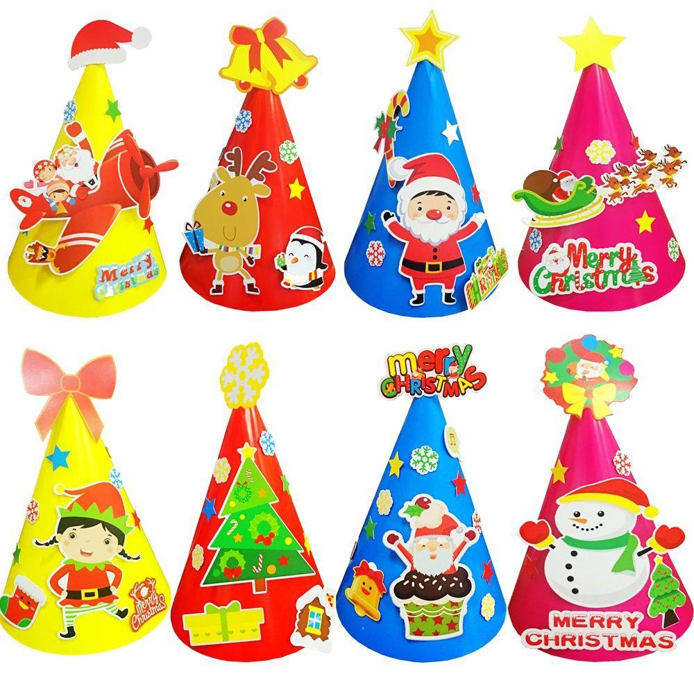 Christmas Articles.14 5 21cm 8designs Diy Christmas Hats Paper Party Articles Diy Children S Kindergarten Handmade Creative Gifts Santa Claus Snowman Hat