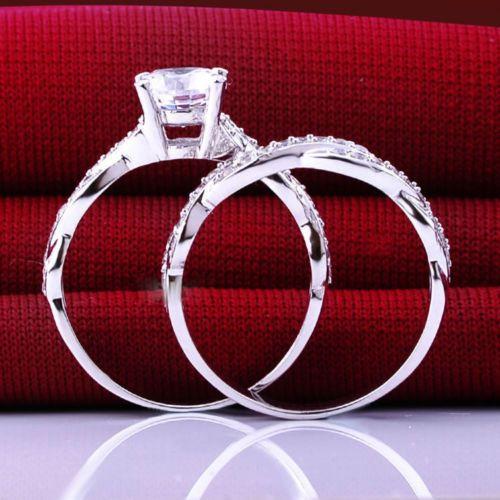 Engagement Wedding Jewelry White Topaz Ring Sz 5//6//7//8//9 18K White Gold Filled