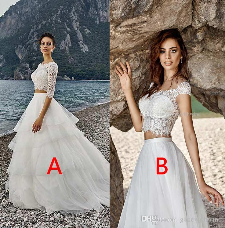 Beach Wedding Dresses 2017 Cheap Lace Top Tulle Skirt Plus Size ...