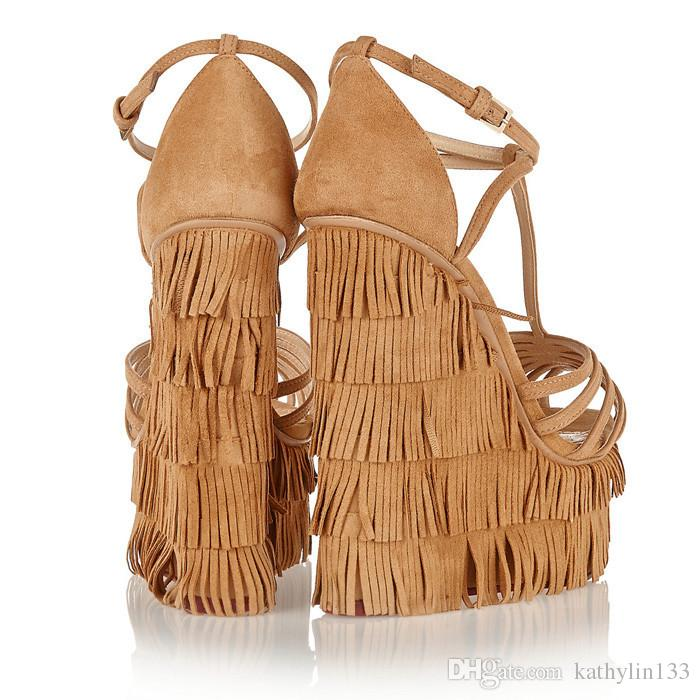 b7db4d1f435c Fringe Suede Wedge Heel Women Sandals Platform Cross Strap T-strap ...