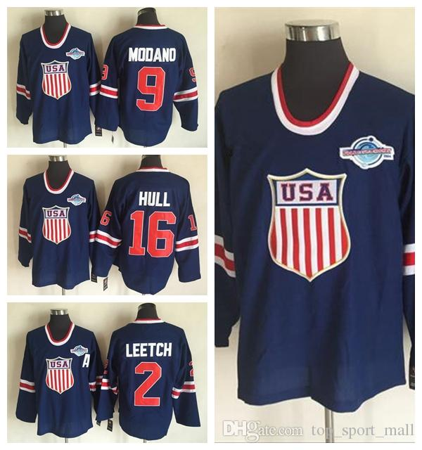 2019 2002 USA Hockey Jerseys Team OLYMPIC Blue Ice 16 Brett Hull 2 Brian  Leetch 9 Mike Modano Jersey Men Best Breathable All Stitching Quality From  ... ae1fa5073ef