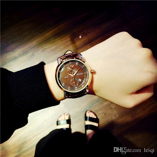 Teen fashion watch Korean fashion simple student tide male leather belt retro casual female couple large dial