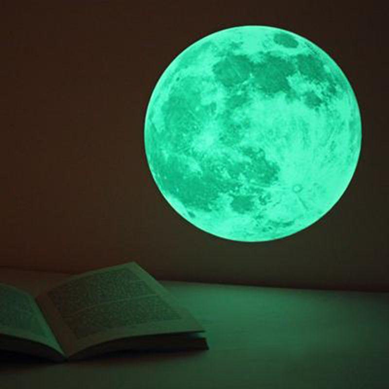 30cm 3d large moon fluorescent wall sticker kids favorite removable