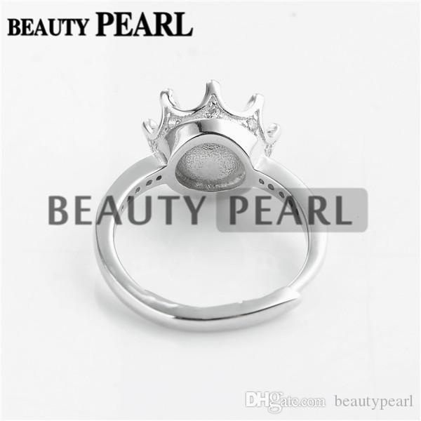 Corona anello perla Semi risultati Mount argento 925 tratteggiata Cubic Zirconia DIY che fanno 5 Pezzi