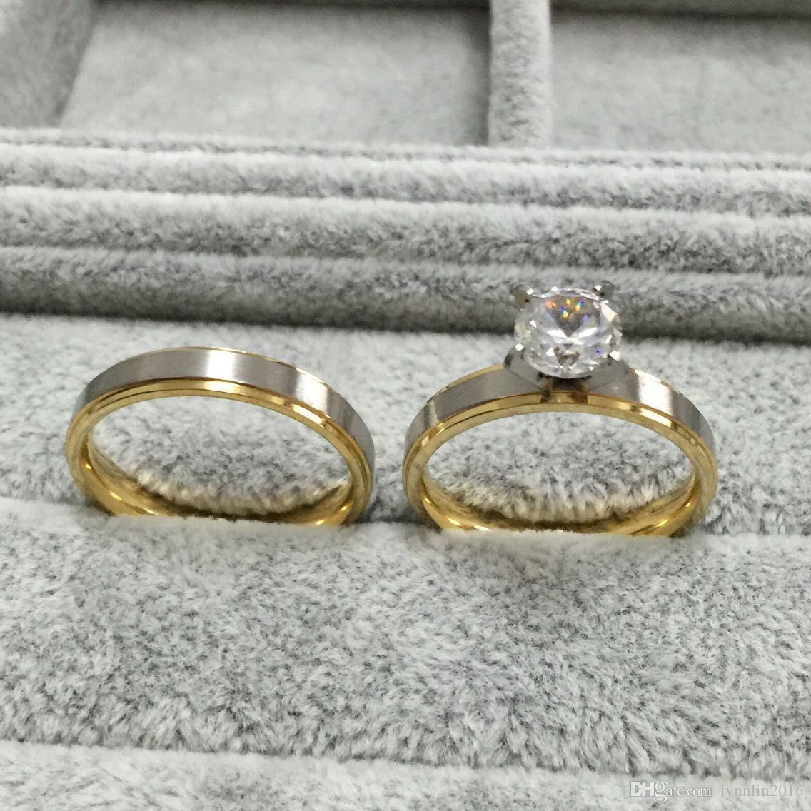 Anelli di coppia coreana in acciaio al titanio da 4 mm con diamanti in argento sterling CZ Set gli amanti delle fidanzate delle donne, promessa di lui e lei, argento oro 2 toni