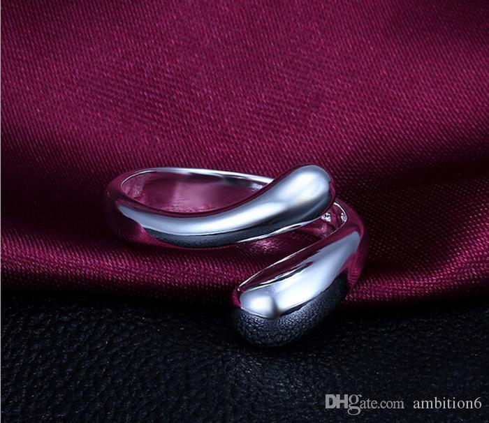 Toptan Satış - Güzel Moda Takı Kaplama 925 Gümüş Yüzük Açılış Ayarlanabilir Çift Yuvarlak Yüzük Partisi Popperfestival Hediye