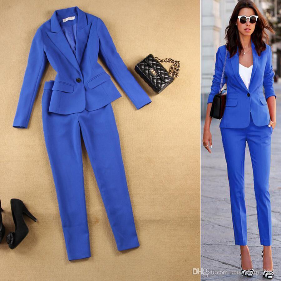 Frauen Anzüge Formale Büro Hose Anzüge weibliche Arbeitskleidung 2 Stück Sets One Button Uniform Designs Blazer Anzug Jacke Set
