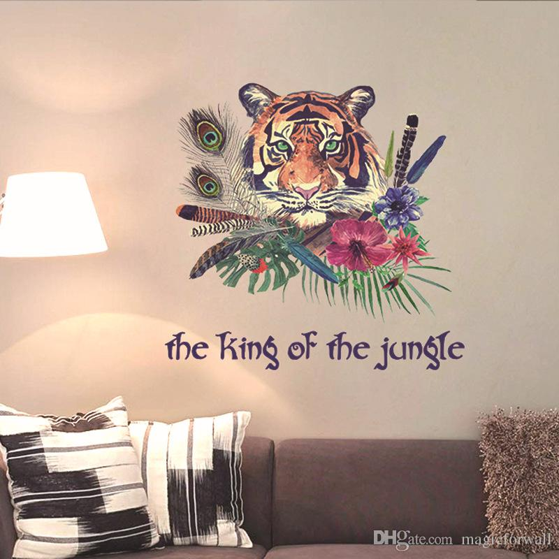 Colorful Feather Tiger The King Of The Jungle Wall Stickers Living - Wall decals hallway
