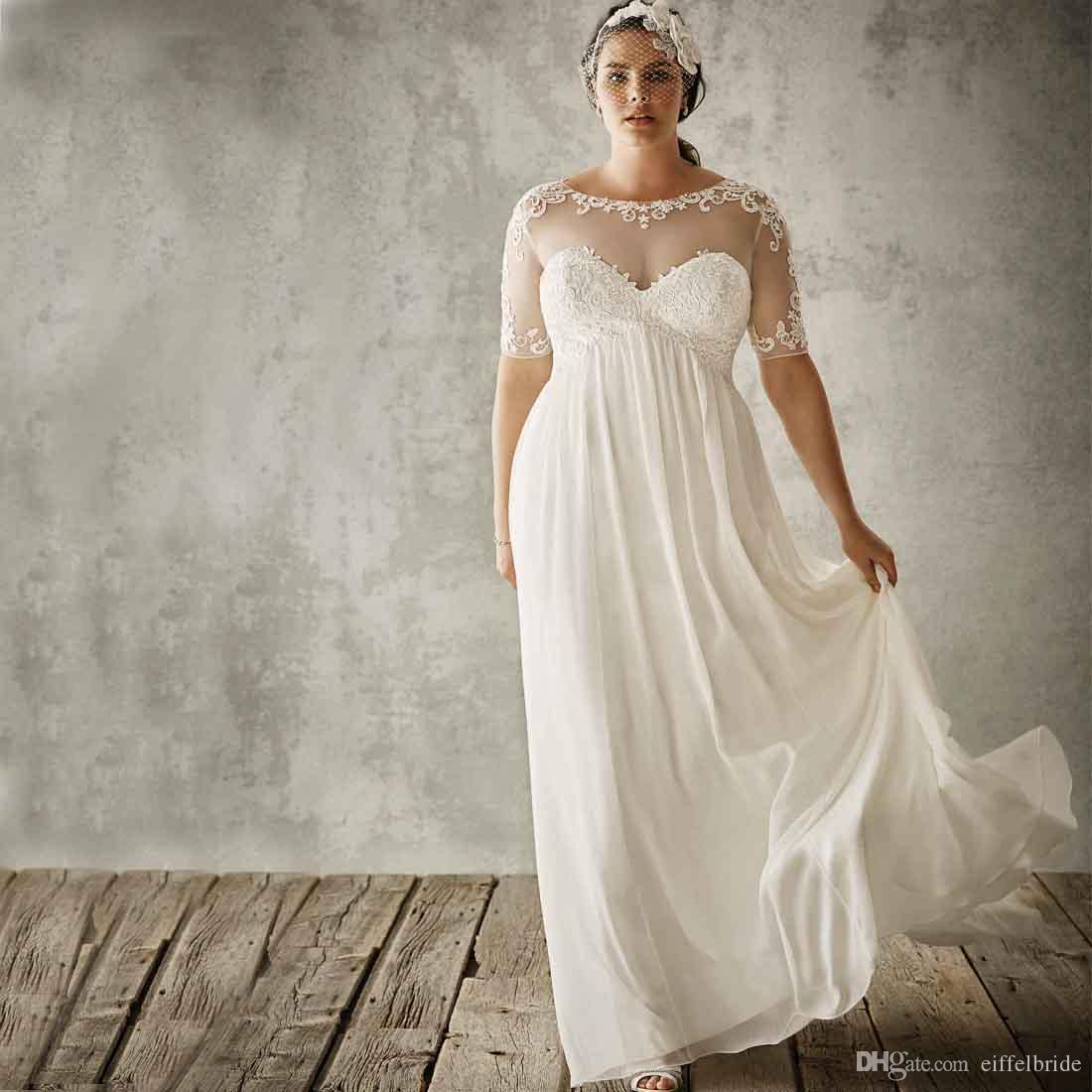 Cheap Beach Wedding Dresses Plus Size 2016 Sexy Sheer Lace
