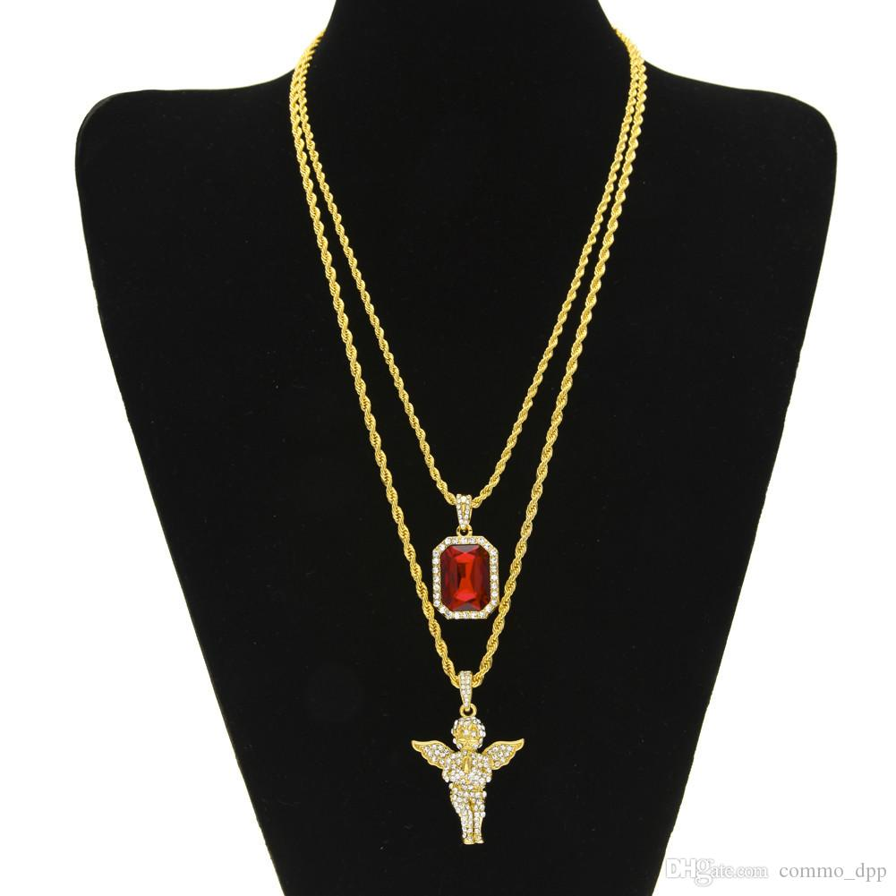 Mens Hip Hop Jewelry sets Mini Square Ruby Sapphire Full crystal Diamond Angel wings pendant Gold chain necklaces For male Hiphop Jewelry
