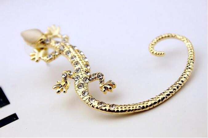 Earcuff Mode Ohr Manschette Strass Ohrringe Ohr Manschette Luxus elegante goldene Silber überzogene übertrieben Gecko Eidechse Ohrstecker Schmuck