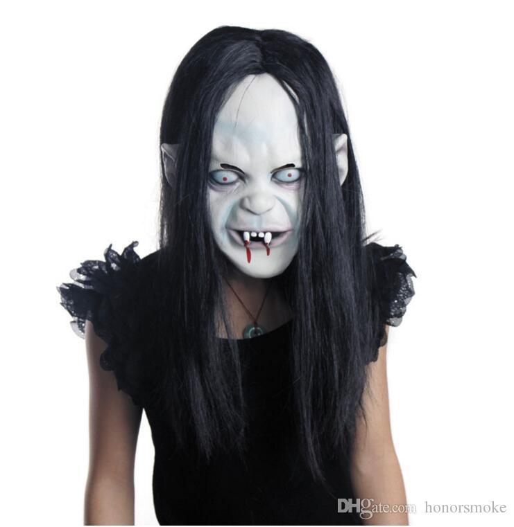 Accesorios de máscara de escorpión Gorras de goma Bruja de Halloween fantasma vendetta Sadako pullover horror miedo Zombie party novia Máscaras