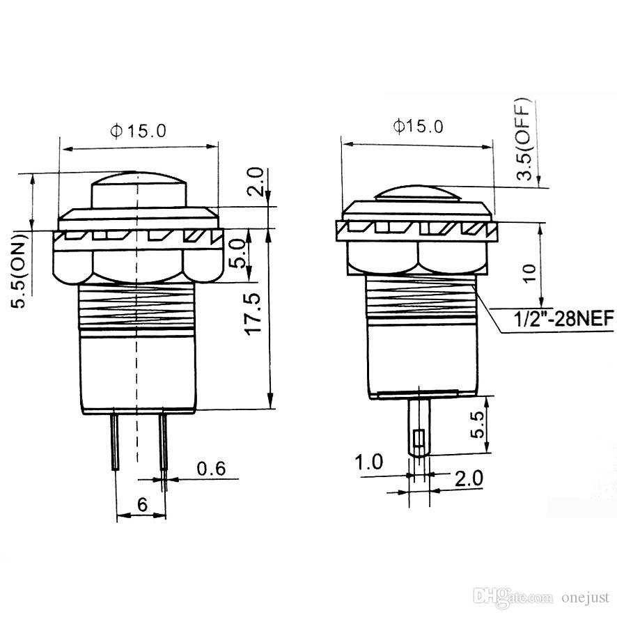 / Composants électroniques Interrupteur de réinitialisation de bouton Lockless Push OFF- ON Voiture / Bateau / Jouets Commutateurs 12mm B00056