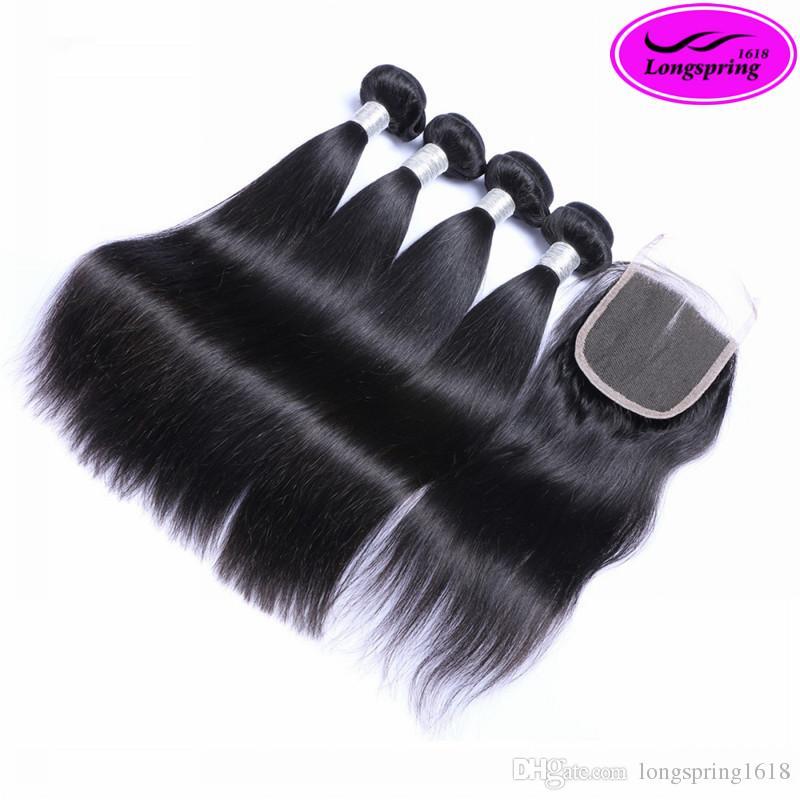Бразильские прямые волосы соткут с верхним закрытием шнурка Unprocessed Малайзийские перуанские индийские Виргинские выдвижения человеческих волос утки волос Remy