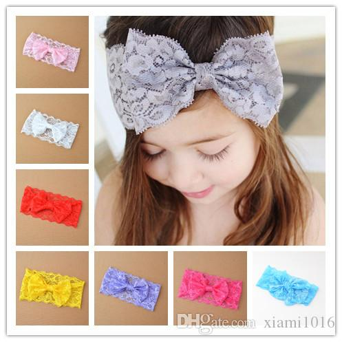 Hot Selling Hair Ornaments Children Lace Bow Hair Band Baby Girls Headband Headdress for Kids Gift Wholesale Free Shipping