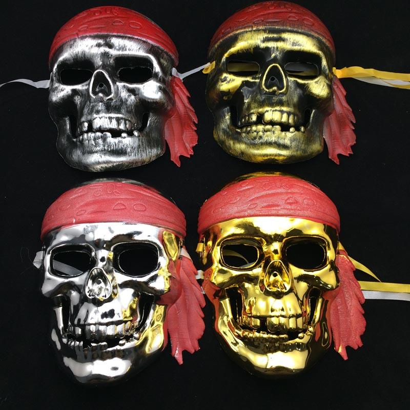 Skeleton Piratenmaske Full Face Halloween Party Masken schützen Krieger Kostüm Scary Ghost Mask Gold Silber versandkostenfrei