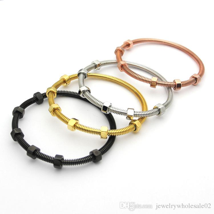 Factory direct 2017 latest 6 screw bracelet titanium steel ladies bracelet men and women couple thread bracelet