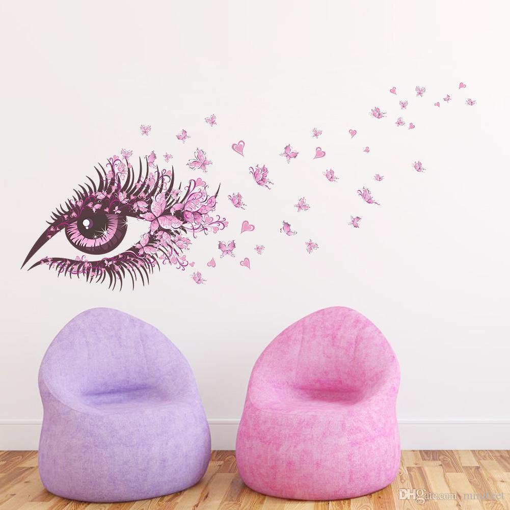 Pink butterfly eyes wall stickers living room TV background wall mural can be removed