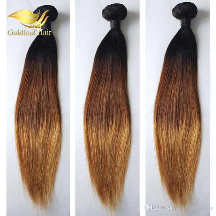 10-26inch Brazilian Human Ombr hair 1B 4 27 Straight Ombre Human Hair Weaving Ombre Hair Extensions