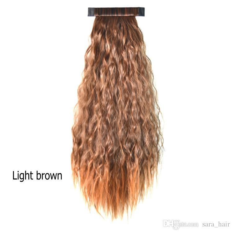 """Sara ! Pat Circle Kinky Curly Ponytails 55CM,22"""" Clip in Ponytail Hair Extension Black&Brown Curly Horsetail Pony Tail Synthetic Hairpieces"""