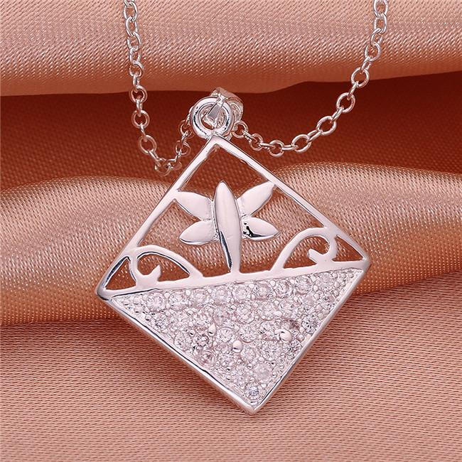 Hot sale Square shape Pendant necklace white gemstone sterling silver plate necklace STSN542,fashion 925 silver necklace factory direct sale