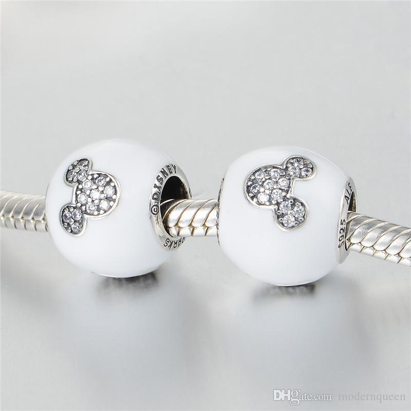 Encantos brancos amor mouse original s925 prata esterlina se encaixa para pulseiras de encanto estilo diyl h9