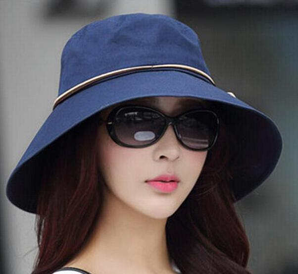 77ee66d0815 Folding Cowboy Cloth Summer UV Hat Solid Beach Travel Caps For Women ...