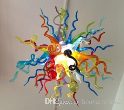 C67-Modern Multi Color Hand Blown Glass Hanging LED Chandelier Light Modern Style Colored Crystal Cheap and Small Chain Chandelier