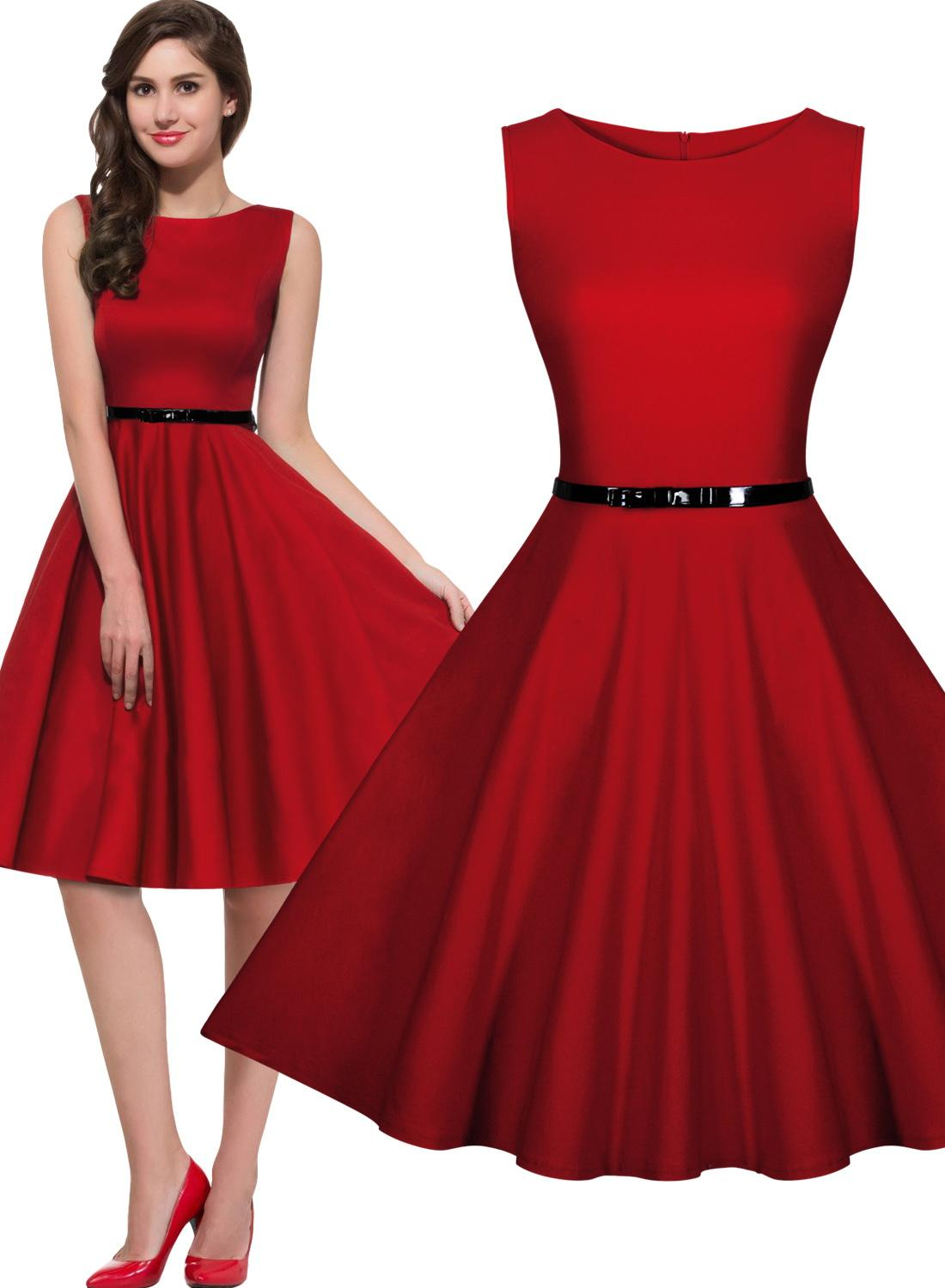 Womens 1950s Rockabilly Vintage Evening Party Dresses Swing Skater