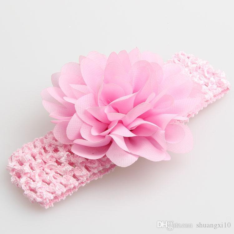 baby Headwear Head Flower Hair Accessories 4 inch Chiffon flower with soft Elastic crochet headbands stretchy hair band