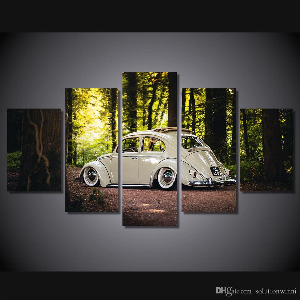 5 Stücke HD Gedruckt berühmte auto malerei raumdekor leinwand kunst wandkunst licht bäume dekoration ölgemälde