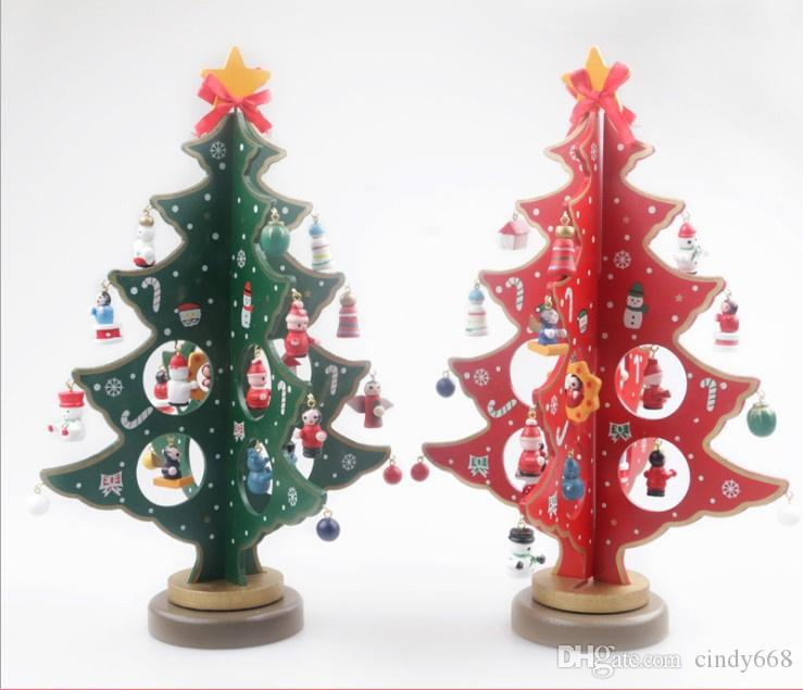 Wooden Xmas Tree Ornaments For Home Table Decor Exquisite Artifical