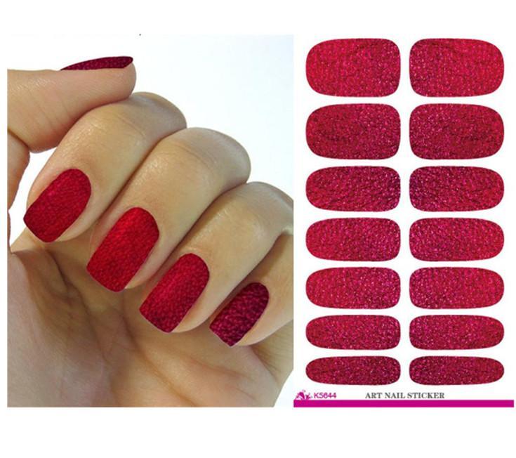 Korean Red Nail Wraps Decals Diy Designer Water Transfer Nails Art