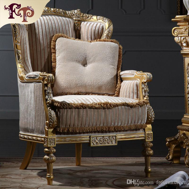 Italian Living Room Furniture Classic Wood Royal French Style Manufacturer One Person Sofa Free Shipping