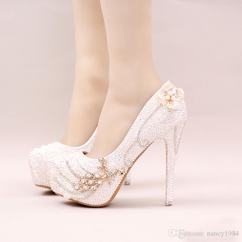 227d290f9b5 2018 Sparkling Rhinestone Bridal Shoes Stiletto Heel White Crystal Wedding  Party Shoes Bling Bling Prom Pumps Cinderella Shoes