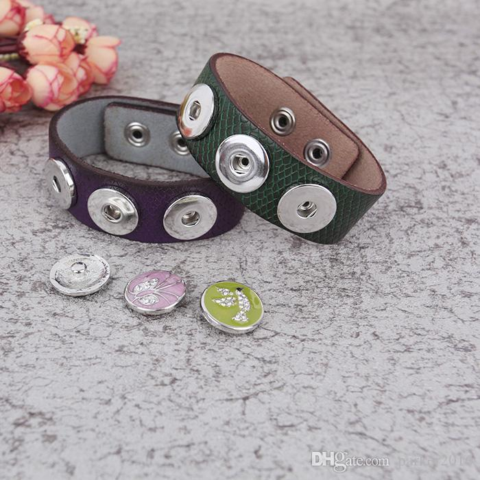 REALLY Wholesale Mix Color Noosa With 18 mm Zinc Alloy Snap Button Pu Leather Replaceable Bracelets
