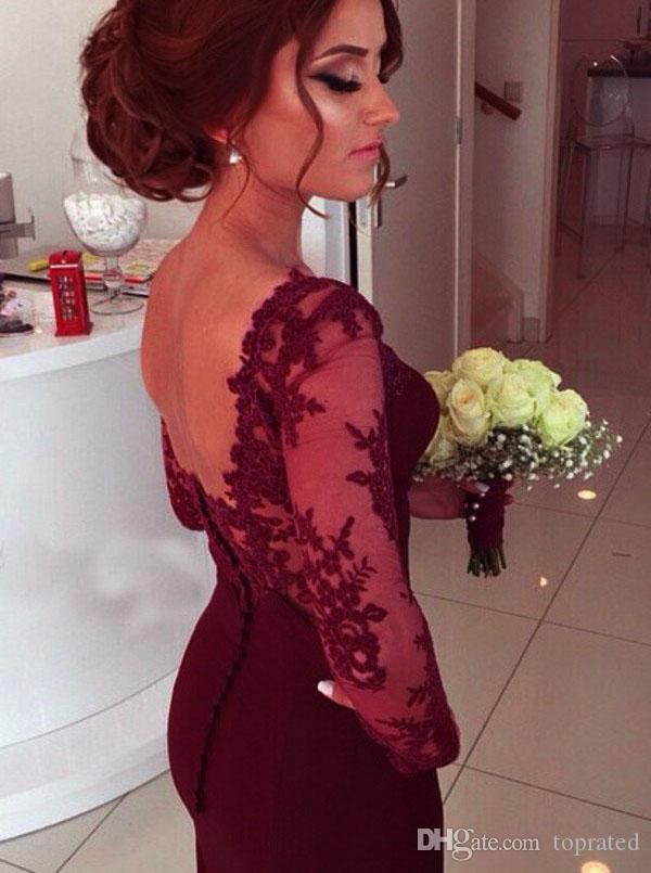 Burgundy Wine Red Sweep Train 2017 Mermaid Prom Dresses Scoop Tulle Illusion Long sleeve Appliques Satin Covered Button dresses evening wear