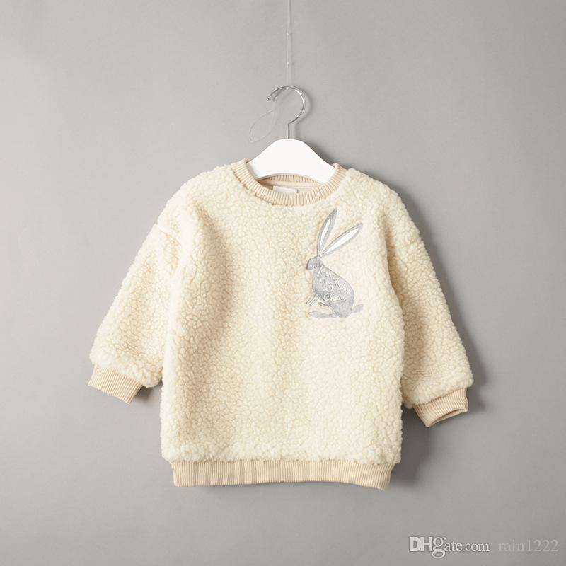 New Autumn Winter Girls Pink Wool Sweaters Children Warm Coats Kids Baby Lamb Wool Pullover Loose Coats Sweaters Toddlers Infants Clothing