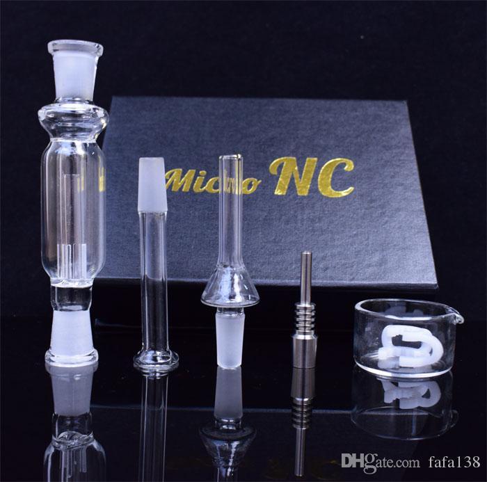 Vendita calda 10mm Kit micro NC con titanio Nail Ash Catcher DAB Straw Glass Tubi di vetro Bongs Bongs