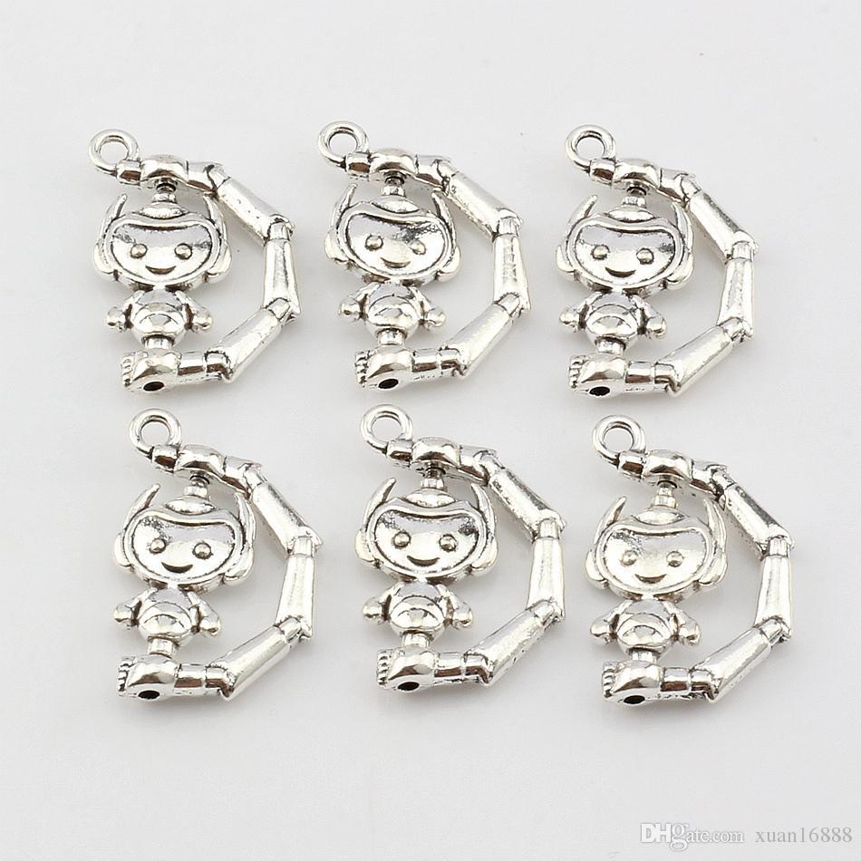 MIC New Fashion Antique Silver Alloy Robot Charm Pendants DIY Jewelry 18x26mm