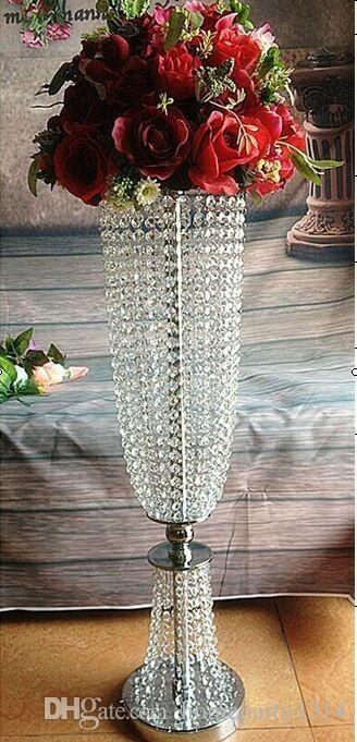 2018 Pilares De Cristal De Casamento suporte de metal titular do bolo Alto Peça Central Do Casamento Road Leads vaso de Flores carrinho de exposição