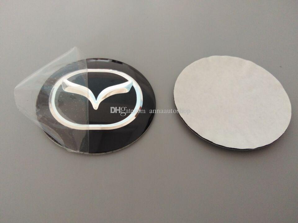 Alüminyum 56.5mm 3D Araba Rozeti Tekerlek Merkezi Hub Cap Sticker Dayanıklı Logo Marka Amblem Araba Aksesuarı Anti Solmaya Tekerlek Dekorasyon Mazda Için Fit