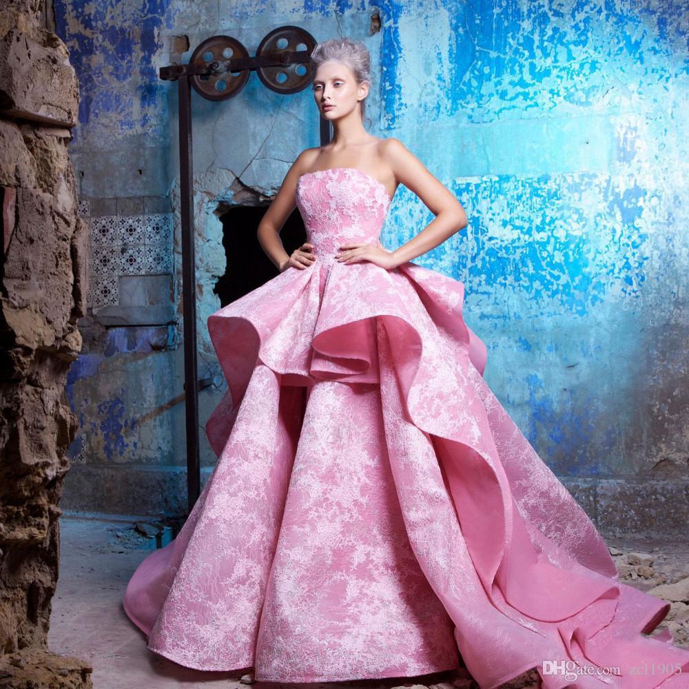 Compre Arabia Saudita 2017 Lace Vestidos De Noche Pink Swirled Ball ...